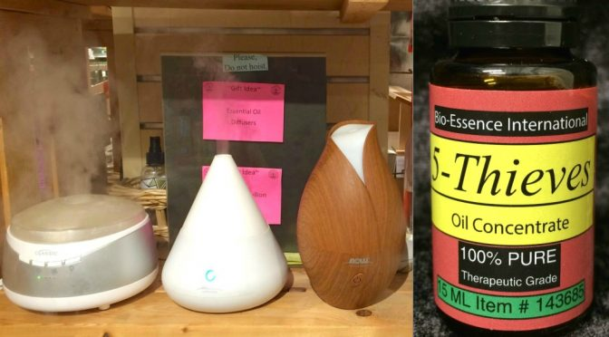 We regularly use Thieves Oil with diffusers in our store to kill viruses.  You should, too.